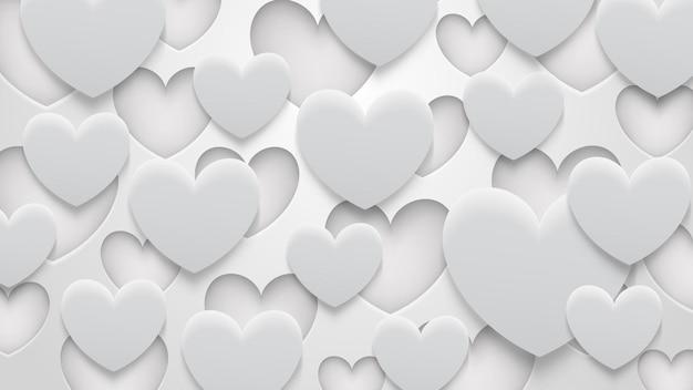 Abstrakter hintergrund von löchern und herzen mit schatten in weißen und grauen farben Premium Vektoren