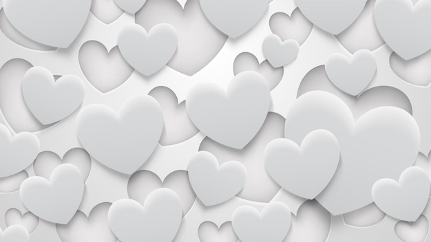 Abstrakter hintergrund von löchern und herzen mit schatten in weißen und grauen farben