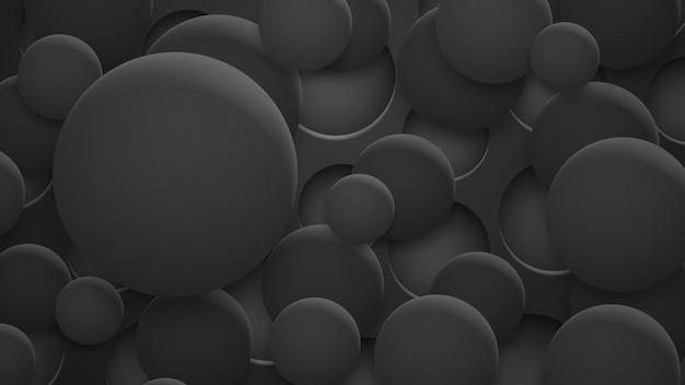 Abstrakter hintergrund von löchern und kreisen mit schatten in schwarzen farben
