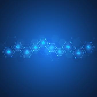 Abstrakter hintergrund von molekülen. molekülstrukturen. wissenschaftliches, technisches oder medizinisches konzept.