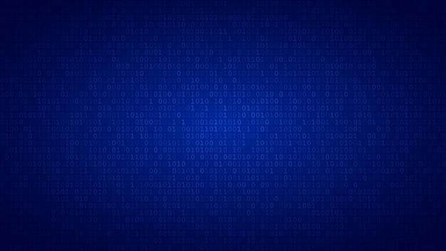 Abstrakter hintergrund von nullen und einsen in blauen farben.