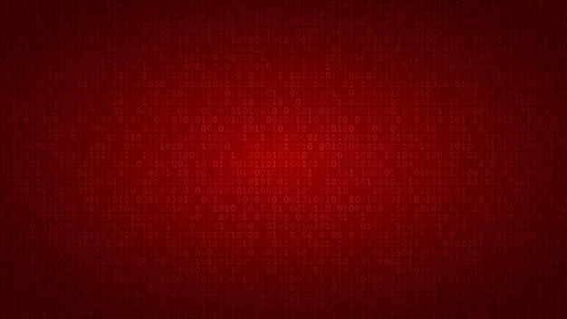 Abstrakter hintergrund von nullen und einsen in roten farben.