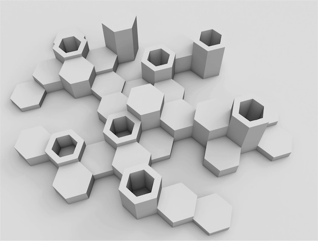 Abstrakter hintergrund von sechsecken. moderne sechseckige elemente in einer perspektivischen ansicht.