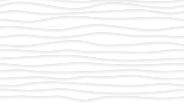 Abstrakter hintergrund von wellenlinien mit schatten in weißen und grauen farben. mit horizontalem musterrapport
