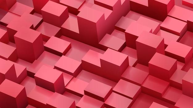 Abstrakter hintergrund von würfeln und parallelepipeden in roter farbe