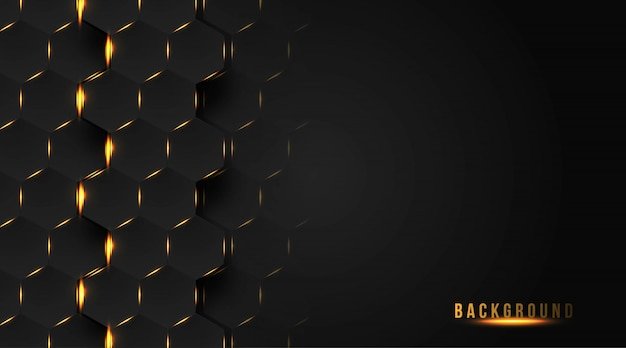 Abstrakter hintergrundentwurf mit goldhexagon