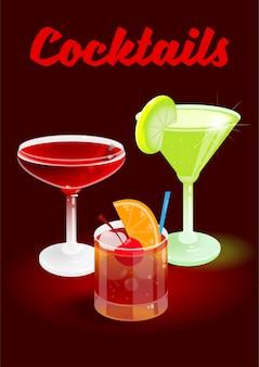 Abstrakter hintergrundplakat der dunklen kirsche mit frischem eis gefrorener alkoholischer cocktails altmodische manhattan-daiquiri-werbung für geschäftsbar-restaurant-party-strandclub moderne illustration