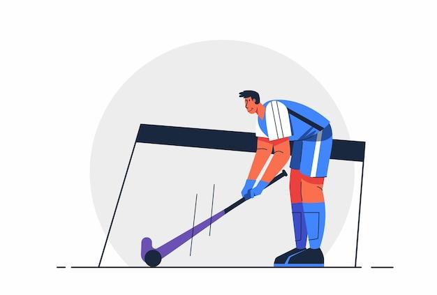 Abstrakter hockey-athleten-mann benutzt schlagstock auf puk während des wettbewerbs, des olympischen oder asiatischen spiels in der zeichentrickfigur