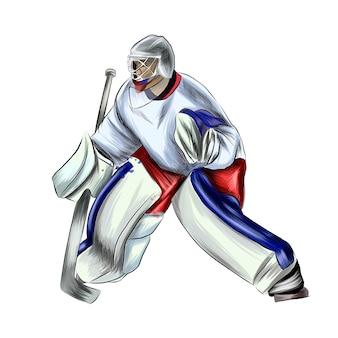 Abstrakter hockey-torhüter aus spritzern von aquarellen farbiger zeichnung realistischer wintersport