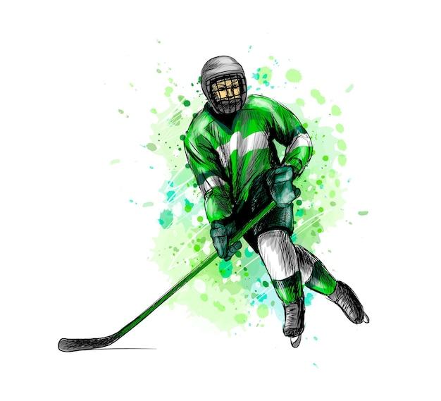 Abstrakter hockeyspieler vom spritzen der aquarelle. hand gezeichnete skizze. wintersport. illustration von farben