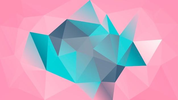 Abstrakter horizontaler dreieckhintergrund der steigung. grauer, rosafarbener, türkisfarbener polygonaler hintergrund für die geschäftspräsentation. trendiges geometrisches abstraktes banner. flyer zum technologiekonzept. mosaik-stil.