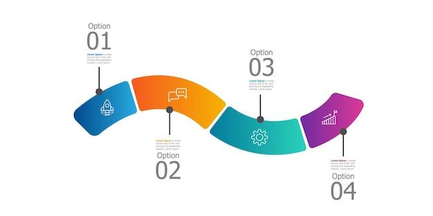 Abstrakter horizontaler zeitachsen-infografik-präsentationsbericht mit symbol-4-schritten-vektorillustration
