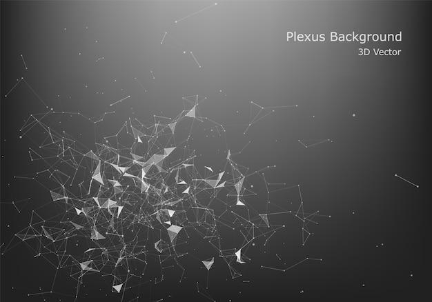 Abstrakter internetanschluss und technologiegrafikdesign. niedriger dunkler polyhintergrund des abstrakten polygonalen raumes mit verbindungspunkten und linien.