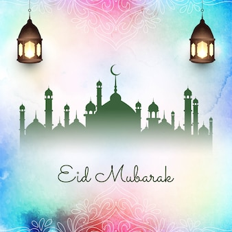 Abstrakter islamischer eid mubarak bunt