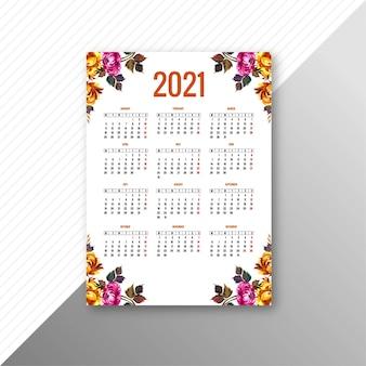 Abstrakter kalender 2021 für dekorative blumenschablone