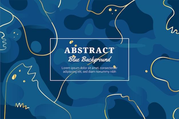 Abstrakter klassischer blauer hintergrund mit goldenen linien