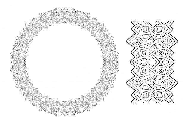 Abstrakter kranz zum malbuch mit kristallen