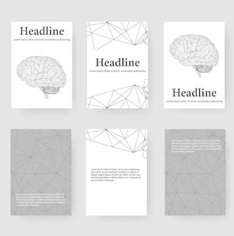 Abstrakter kreativer konzeptvektorhintergrund des menschlichen gehirns. briefkopf und broschüre im polygonalen designstil für unternehmen. vektor-illustration eps 10 für ihr design.