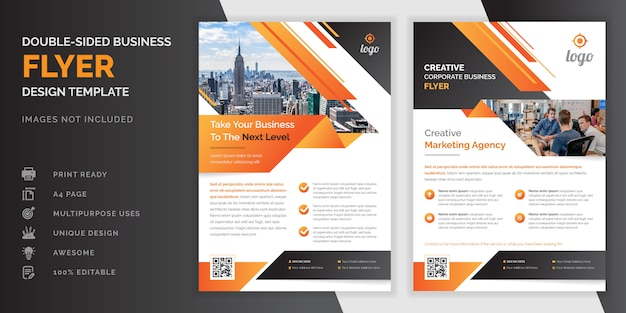 Abstrakter kreativer moderner professioneller doppelseitiger geschäftsflieger der abstrakten orange und schwarzen farbe