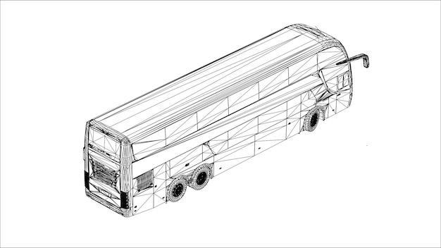 Abstrakter kreativer vektor großer stadtbus auf linien, die mit punkten verbunden sind