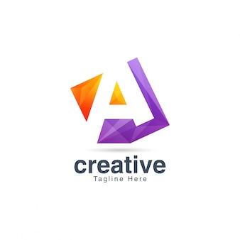 Abstrakter kreativer vibrierender buchstabe a logo design template