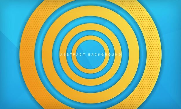 Abstrakter kreispapierschnitt-schichthintergrund mit orange und blauer farbe moderne designvorlage
