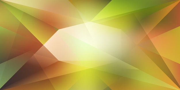 Abstrakter kristallhintergrund mit brechendem licht und highlights in grünen und gelben farben