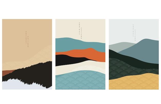 Abstrakter kunsthintergrund mit japanischem wellenmuster. illustration der natürlichen landschaftsschablone.