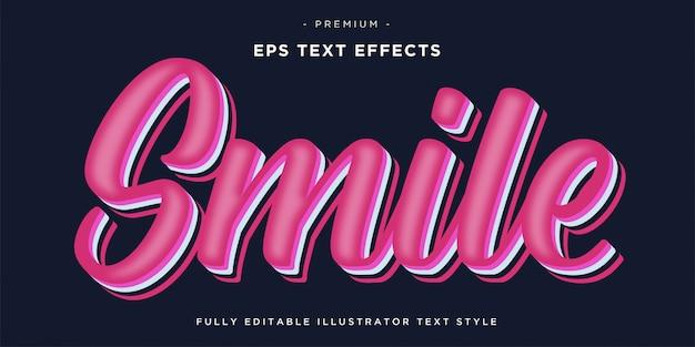 Abstrakter kursiver stil lächeln texteffekt - lächeln rosa farbe textstil.