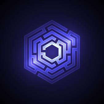 Abstrakter labyrinthhintergrund mit glühendem licht. ursprünglicher entwurf für bucheinband, förderung, kartendekoration. vektor-illustration