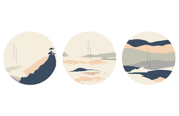 Abstrakter landschaftshintergrund mit gebirgswaldschablone. naturpanorama mit japanischer wellenmusterillustration. symbol und symbol im vintage-stil.