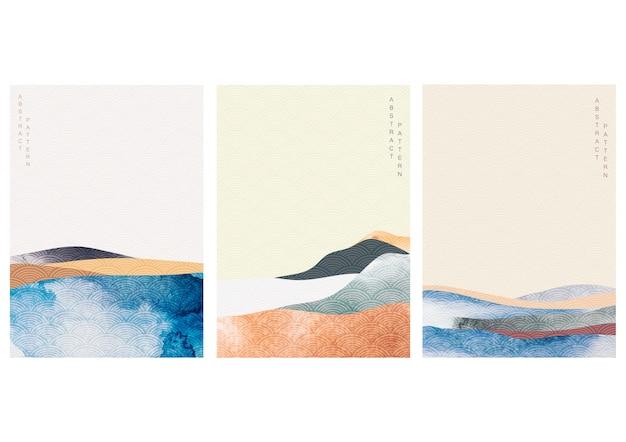 Abstrakter landschaftshintergrund mit japanischem wellenmuster. aquarellbeschaffenheit im asiatischen stil. bergwaldschablonenillustration.