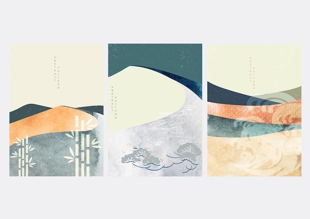 Abstrakter landschaftshintergrund mit japanischen symbolen und wellenmuster. aquarellbeschaffenheit im chinesischen stil. bergwaldschablonenillustration.