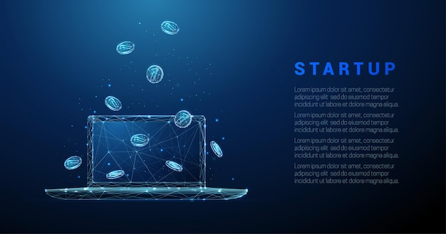 Abstrakter laptop mit fallenden münzen low-poly-stil business startup wireframe-vektor-illustration