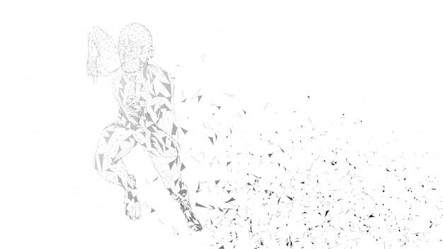 Abstrakter laufender begrifflichmann. läufer mit verbundenen linien, punkten, dreiecken. künstliche intelligenz, digitales sportkonzept. digitaler hintergrund des hightechvektors.