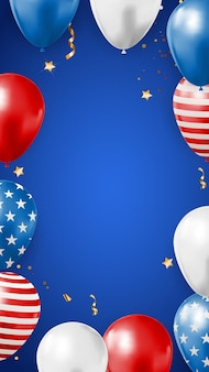 Abstrakter leerer usa-feiertagsparty-hintergrund mit luftballons in der farbe der amerikanischen flagge