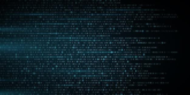 Abstrakter leuchtend blauer binärcode-hintergrund. zufällige programmiersymbole in bewegung. digitale daten. hochtechnologiekonzept. programmierdesign. lichteffekt.