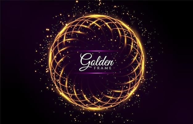 Abstrakter leuchtender goldener glänzender rahmen mit funkelnden sternen