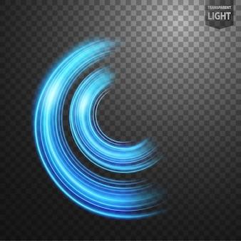 Abstrakter leuchtender kreis mit einem transparenten hintergrund