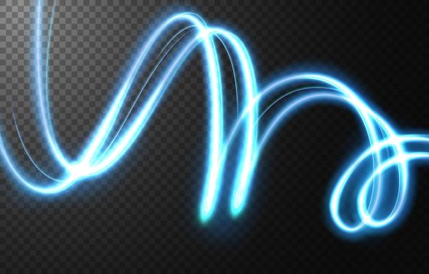 Abstrakter lichtgeschwindigkeitsbewegungseffekt, blaue lichtspur.