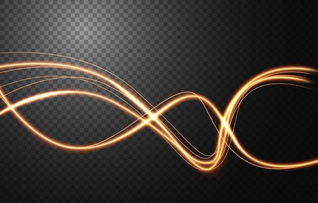 Abstrakter lichtgeschwindigkeitsbewegungseffekt, goldene lichtspur.