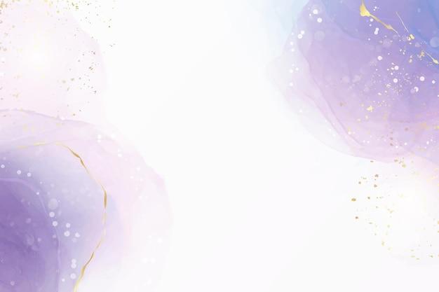 Abstrakter lila flüssiger aquarellhintergrund mit goldenem fleck und linien. violette geode hand gezeichneter flussalkoholtinteneffekt. vektorillustrations-designschablone für hochzeitseinladung.