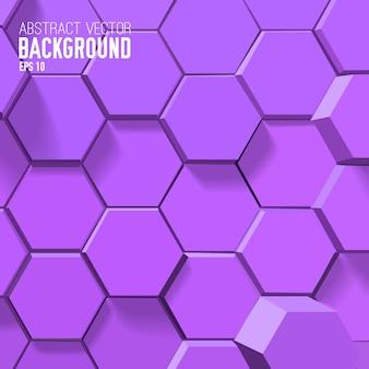 Abstrakter lila hintergrund mit geometrischen sechsecken Kostenlosen Vektoren