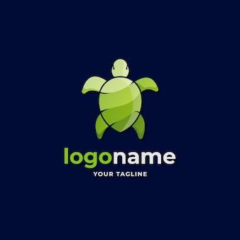 Abstrakter logo-gradient der grünen meeresschildkröte für wildes leben und naturumweltunternehmen