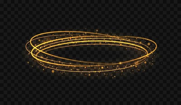 Abstrakter luxuriöser goldener lichtring mit spureneffekt