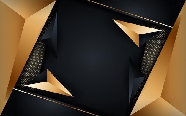 Abstrakter luxus dunkler hintergrund mit goldenen linienkombinationen. moderner futuristischer hintergrund