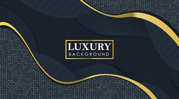 Abstrakter luxus-realistischer hintergrund mit gewellten schichten und gelbem funkeln
