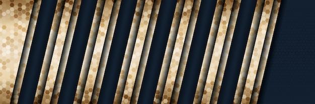 Abstrakter luxusgoldhintergrund der art 3d mit dunkelblauer metallbeschaffenheit