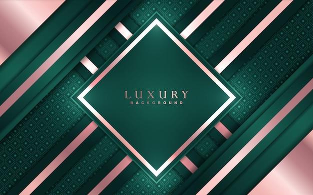 Abstrakter luxushintergrund mit grüner und roségoldener elementdekoration