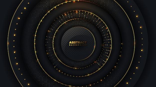 Abstrakter luxuskreishintergrund mit goldenem halbton und goldenen kugelperlen